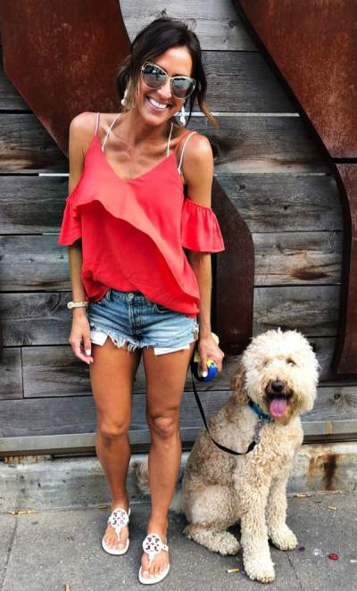 Trendy Cold Shoulder Red Top, Denim Shorts With Flats And Sunglasses