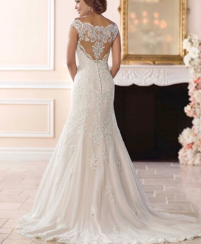 Ultimate White Layered Wedding Gown With Illusion Back