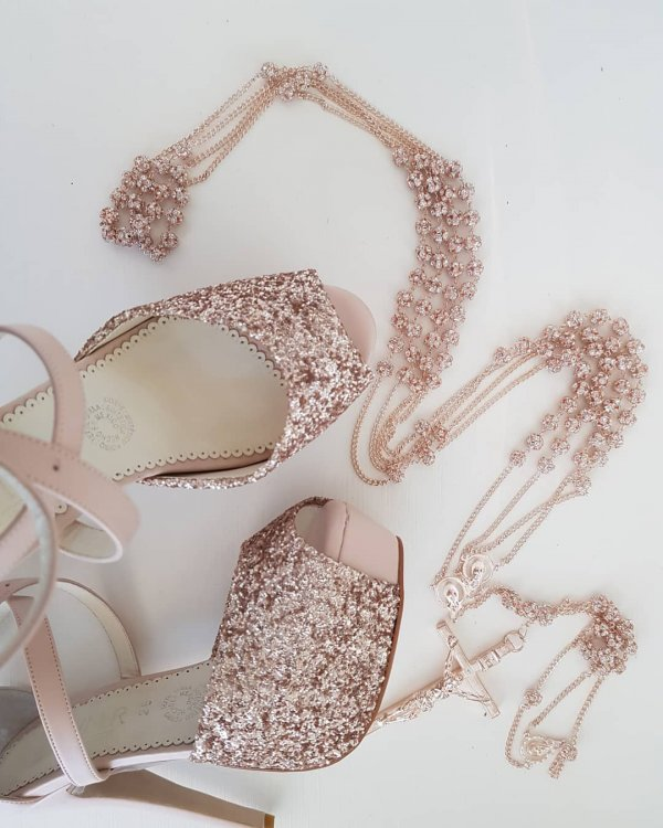 Uncommon Rose Gold Bridal Shoes With Embellished Strap