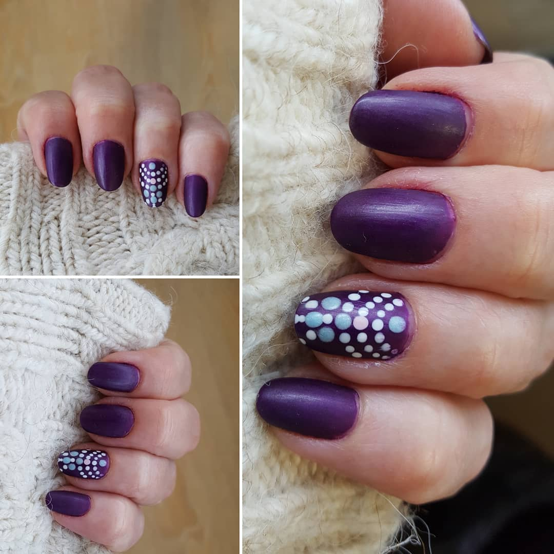 Unique Purple Polka Dots Nail Art Styles