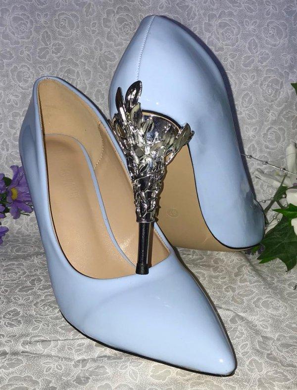 Vintage Style Blue Heel Embellished Wedding Shoes