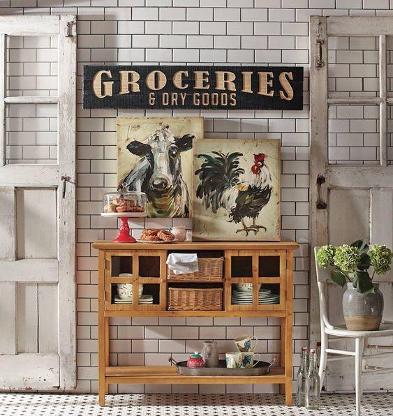 Vintage Style Kitchen Wall Decor Idea