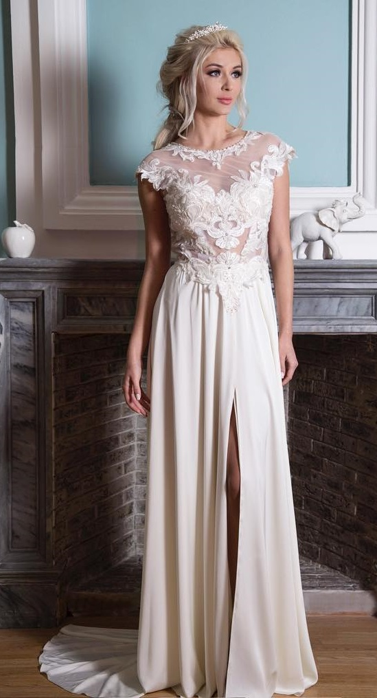Wedding Gown For Summer In Lacy Finish With Front Slit