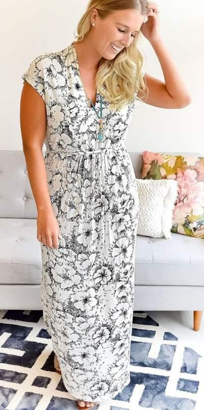 White Floral Print Stretchy Maxi Dress