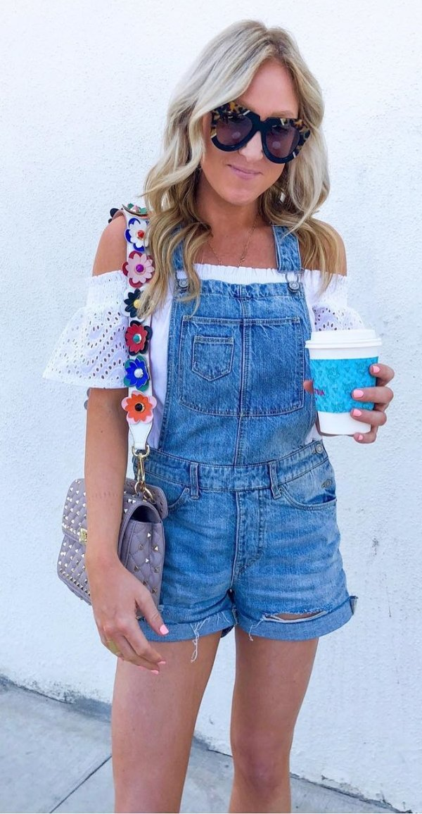 White Off Shoulder Top And Denim Overalls And Cute Bag