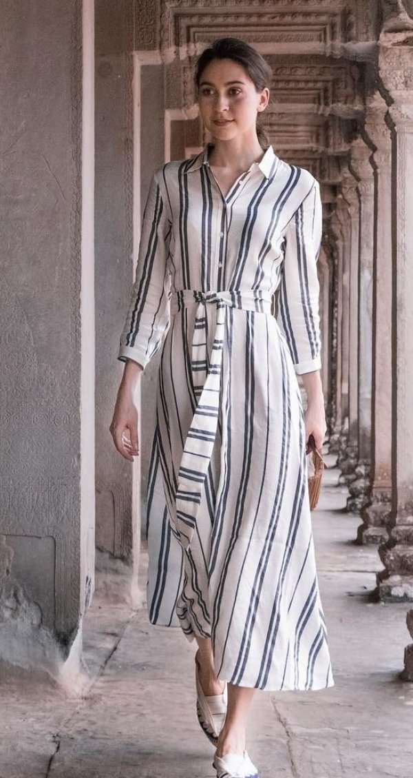 White With Black Stripes Maxi Dress And Flats