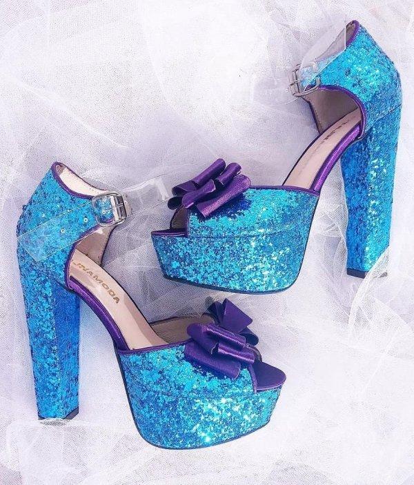 Wonderful Light Weight Glittery Blue Heels With Purple Bow