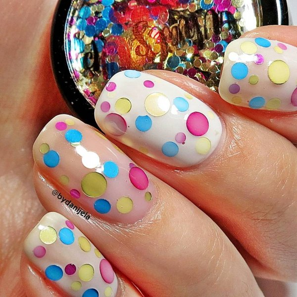 Wonderful Rainbow Nails with Dotted Design