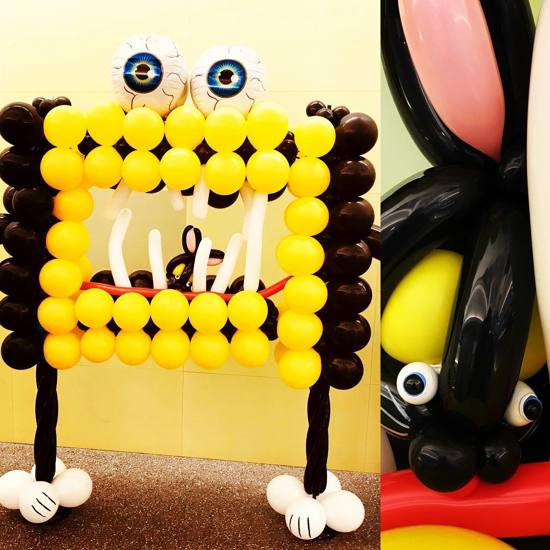 Yellow And Black Monster Balloons Frame