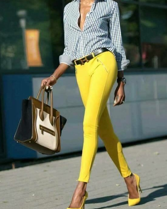 Yellow Jeans, Heels And Gingham Shirt