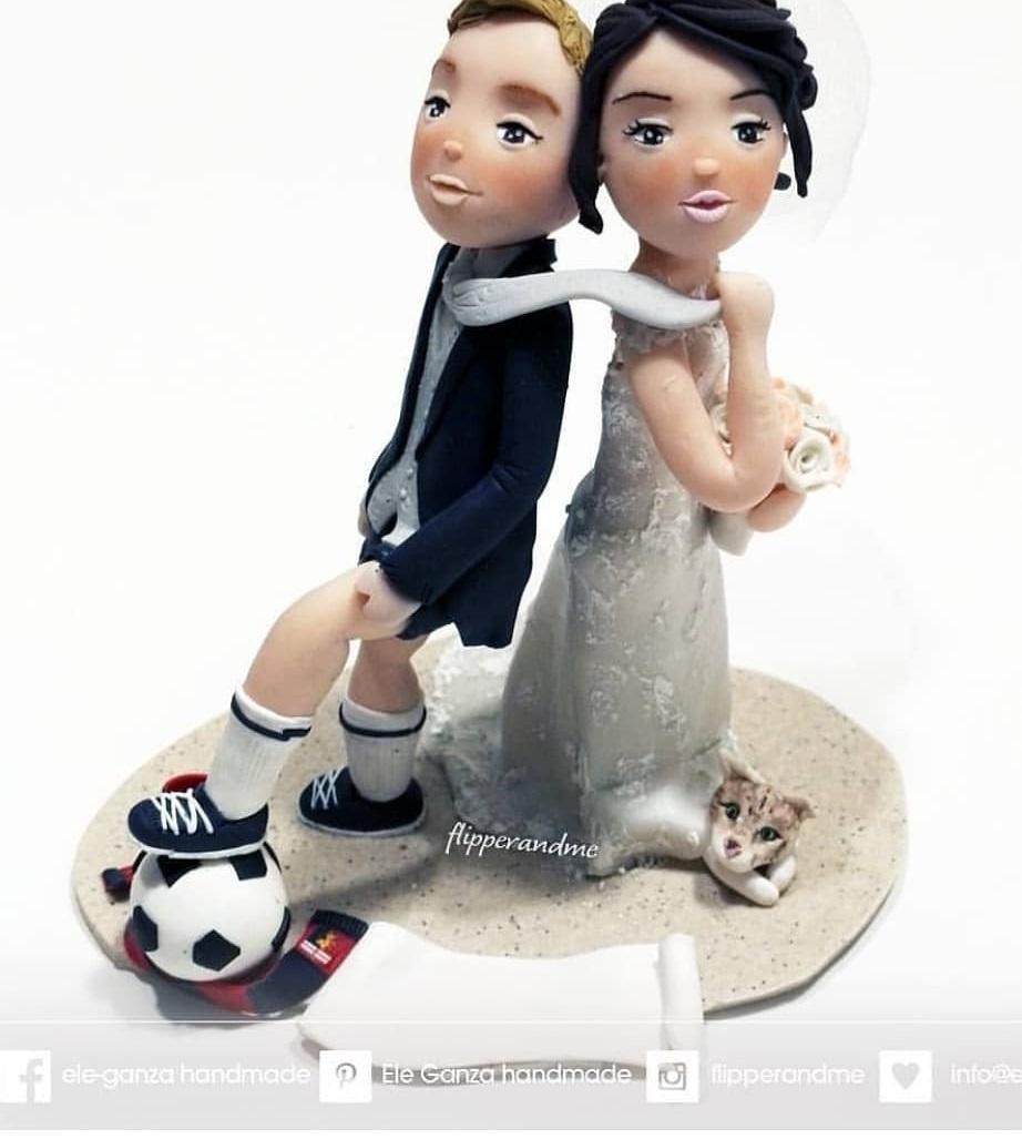 Alluring football lover wedding cake topper