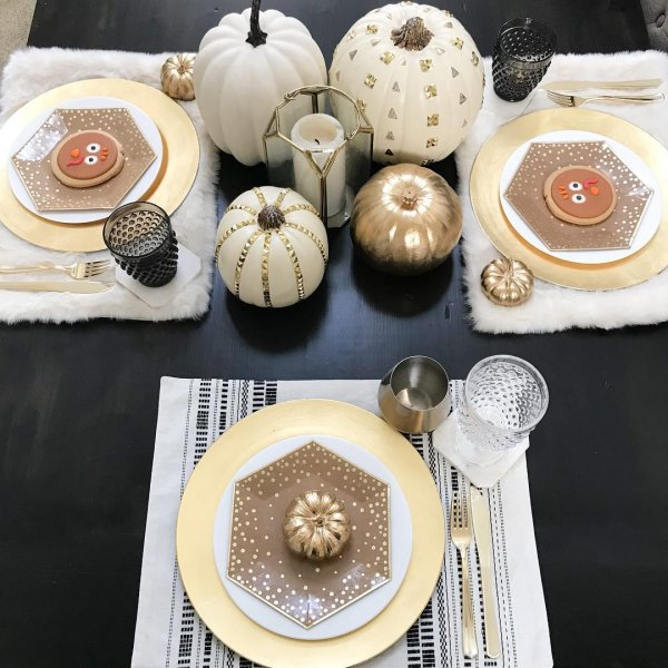 Charismatic Pumpkin Decorated Thanksgiving On A Wooden Table