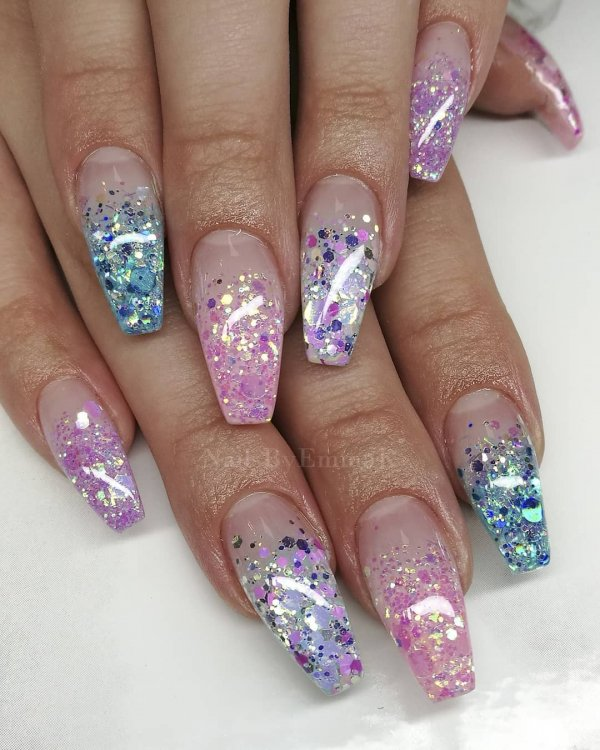 16 Colorful Glitter Nails Via