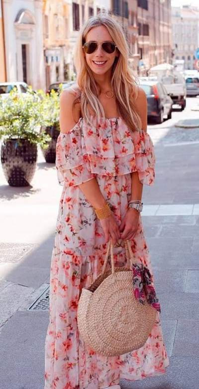 9ad121a6aed Dazzling floral print chiffon cold shoulder maxi dress with handbag