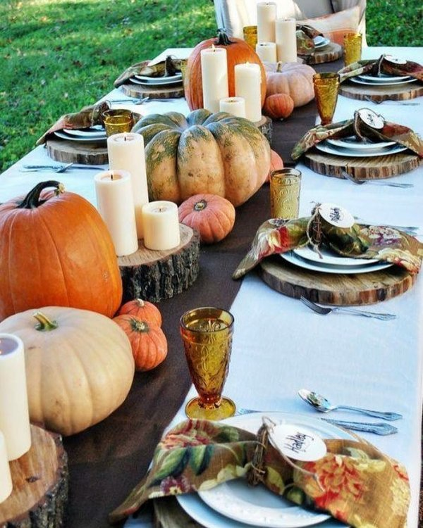Farm Style Table Decor With Pumpkins For outdoor