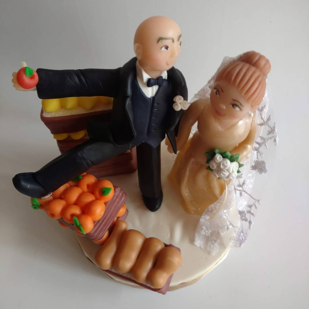 Happy couple wedding cake topppers