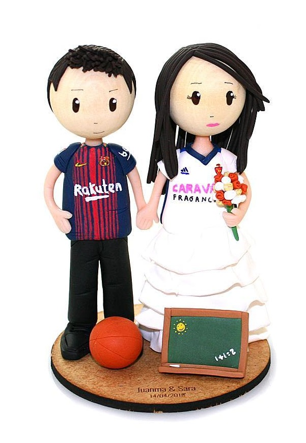 Perfect football themed wedding cake topper