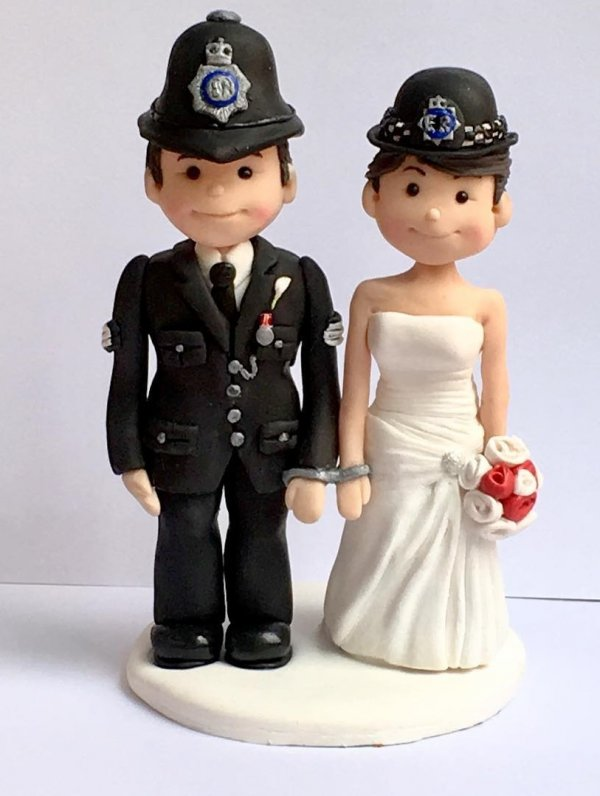 Police couple wedding day topper