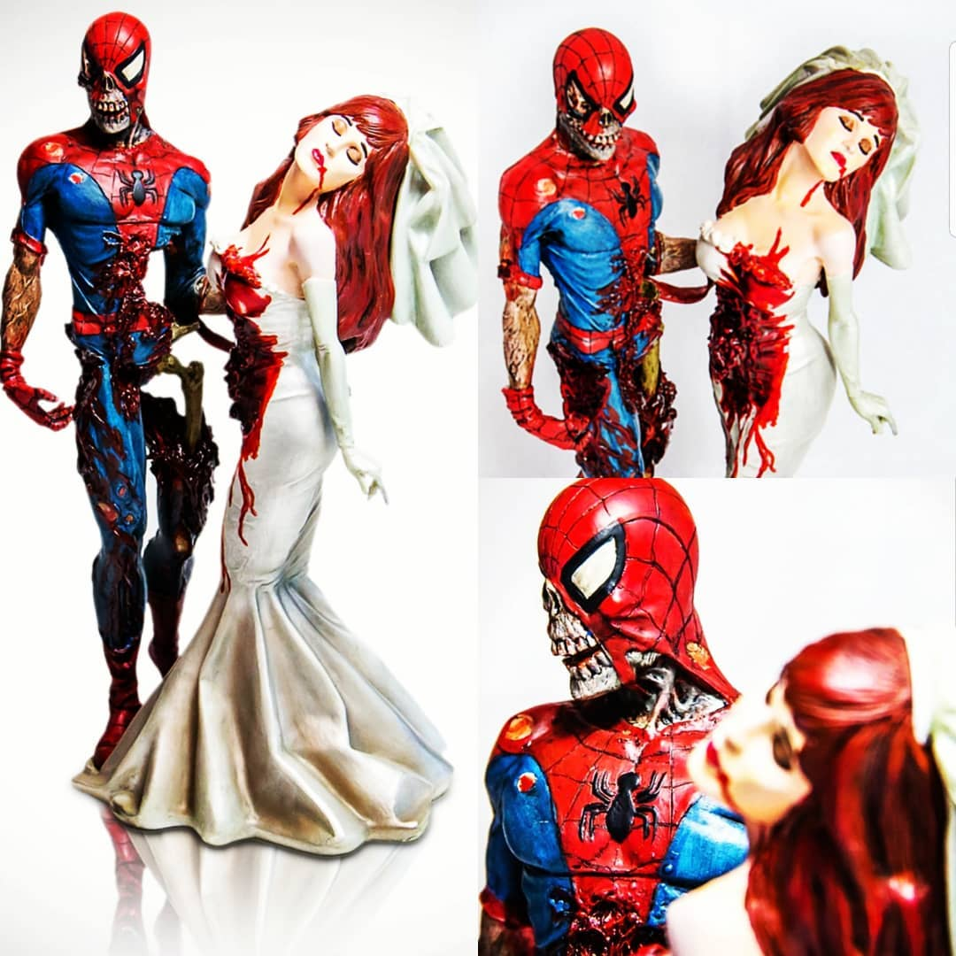 Spiderman with zombie wedding cake toppers
