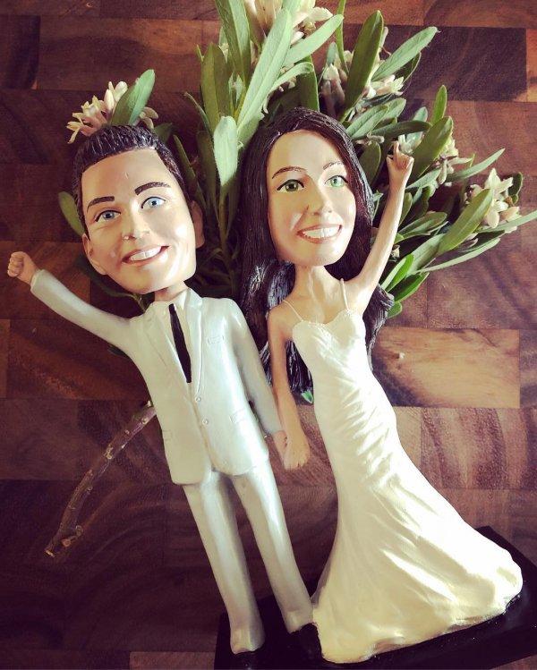 Stylish couple wedding cake topper
