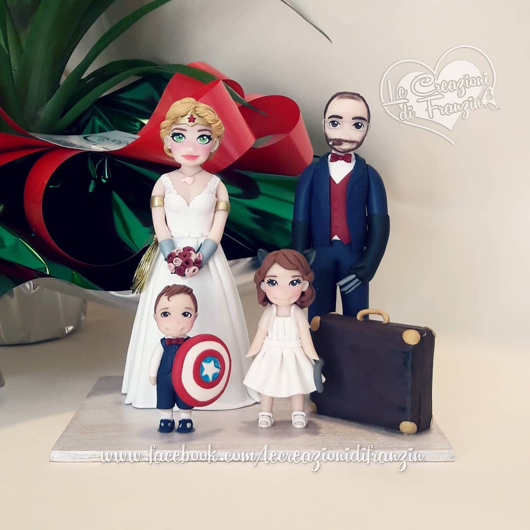 Unique family wedding cake toppers