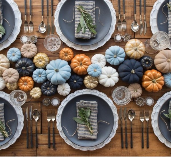 Wow Colorful Pumpkins With Gray Crockeries For An Amazing Thanksgiving Dinner Table Decor
