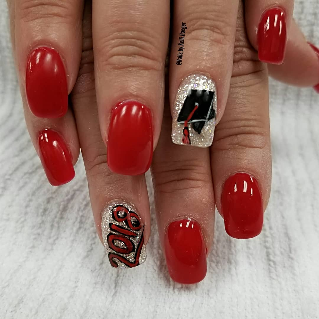 1) Alluring red and golden graduation nails. Pic by by.kelli.haeger via - 45 Awesome Graduation Party Nail Designs For Your Big Day CollageCab