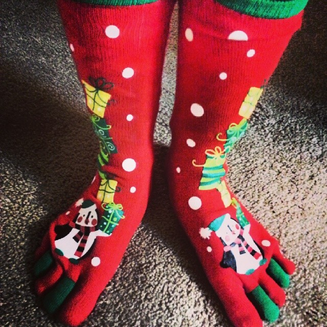 Amazing red and green toesocks with snowman. Pic by chloerestaurateur