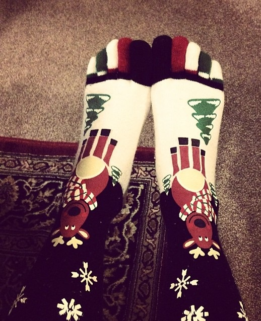 Black, white and red toesocks with reindeer. Pic by iamhappie