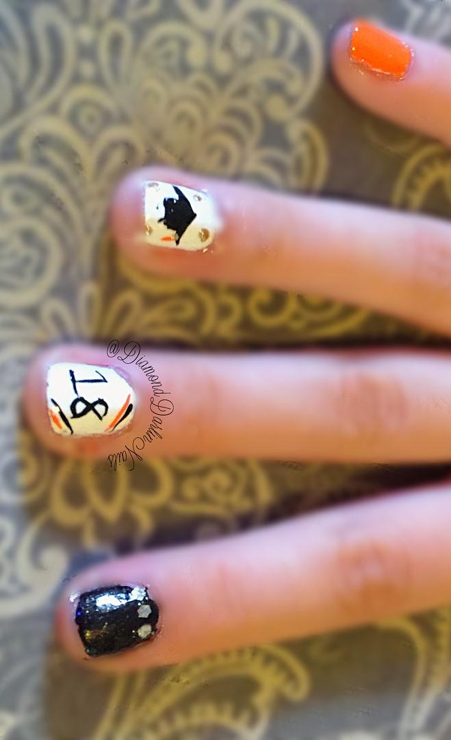 Charming graduation day nails. Pic by diamonddarlinnails