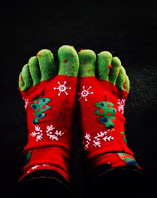 Chic green and red toesocks with snowflakes and tree. Pic by rayemmcc
