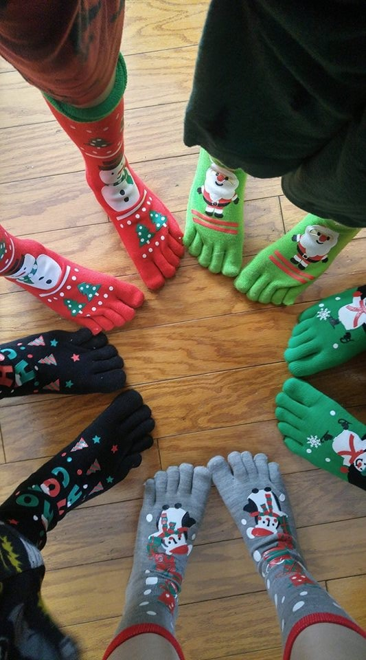 Colorful Christmas toesocks for everyone. Pic by Jen Warnock