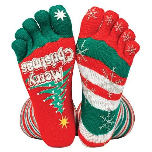 Cutest red and green Christmas toesocks. Pic by Money Saver Online