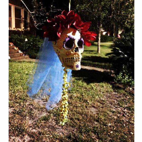 Elaborate Skull Bride Hanging In The Garden Area.