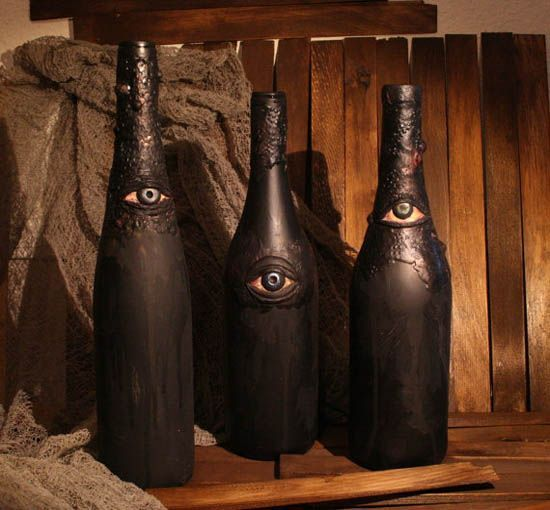 Empty Bottles Used for Halloween Decoration.