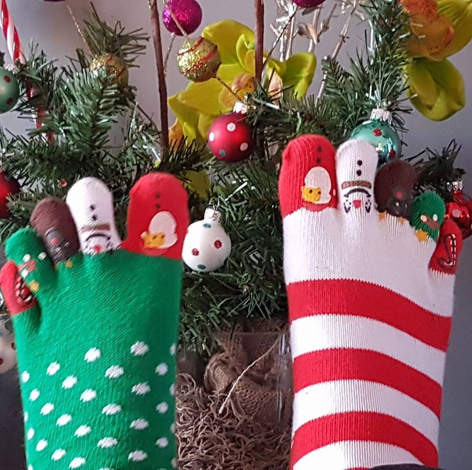 Funky Christmas toesocks. Pic by Kathy Dunn Poirier