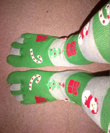 Green and beige Christmas toesocks. Pic by Sharon Huck