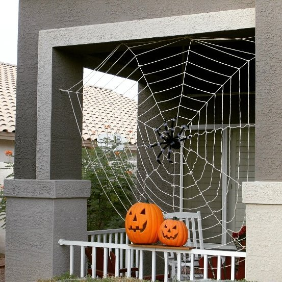 Handmade spider web for outdoor decor at halloween