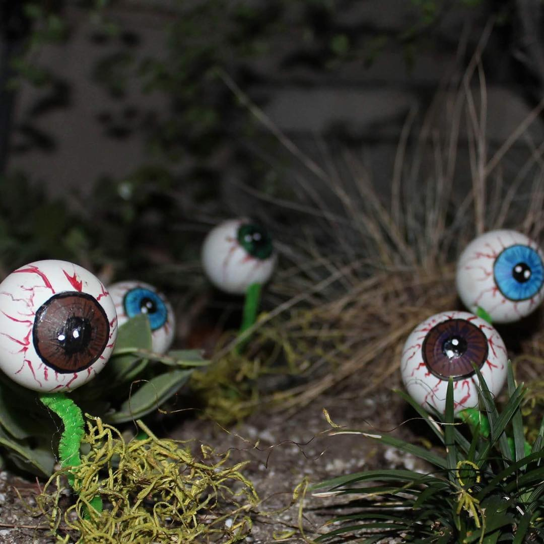 Horrifying Monster Eye Backyard Setup for Halloween.