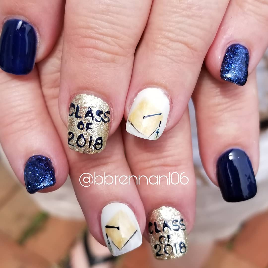 Navy graduation nails with glitter. Pic by bbrennan106
