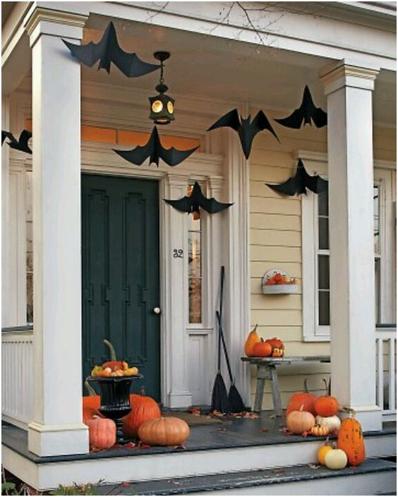 Nice Outdoor Decoration With Pumpkin, Bats And Broomsticks