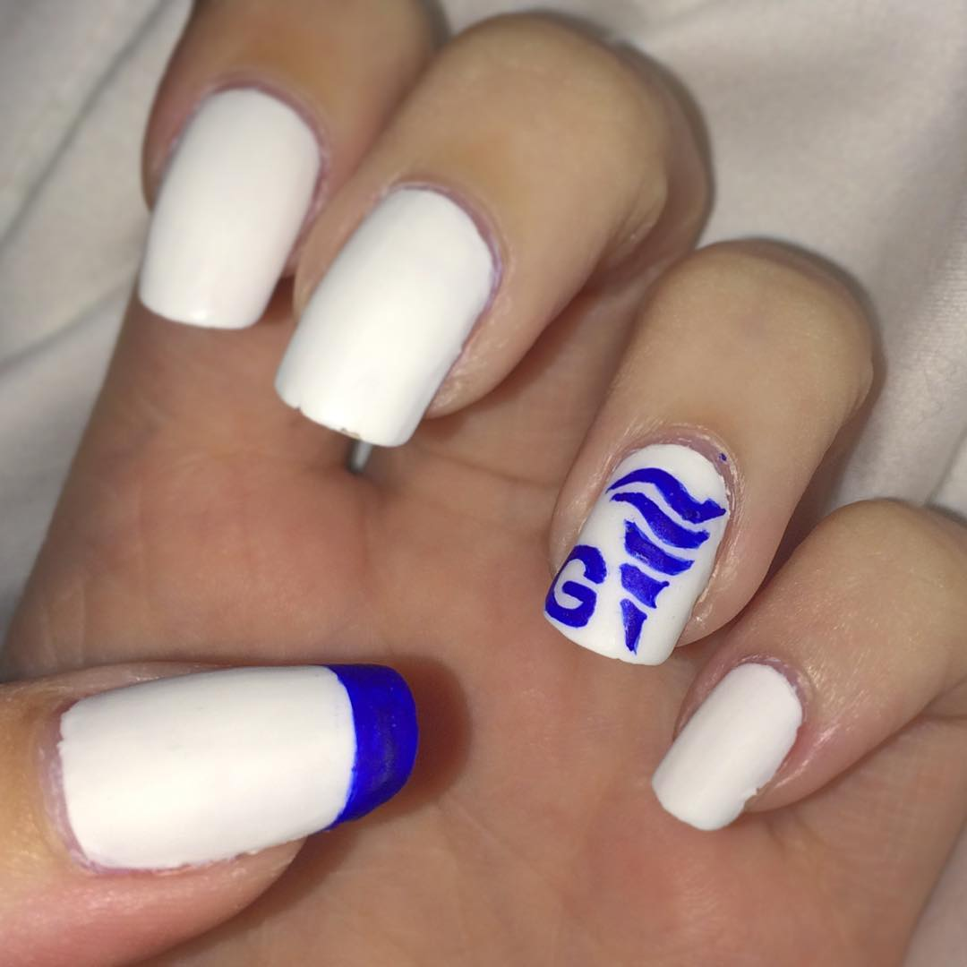 Nice white nails for graduation day. Pic by creativechrono0