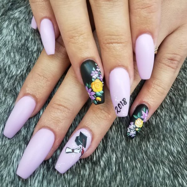 Purple and black graduation nails. Pic by mellobunny6x3