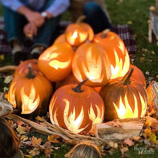 Rocking handmade Well Crafted Pumpkin Art for Backyard Decoration for Halloween.