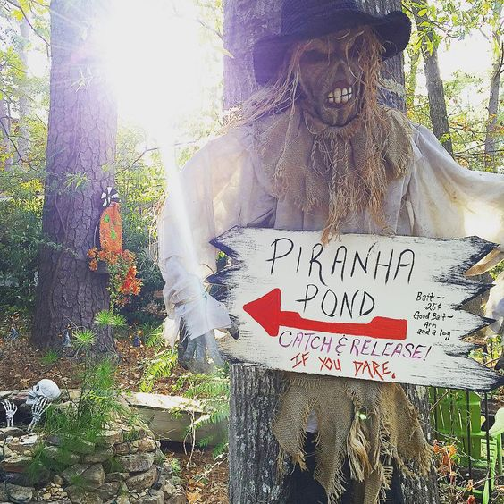 Scary Piranha Pond to Decorate Backyard for Halloween.