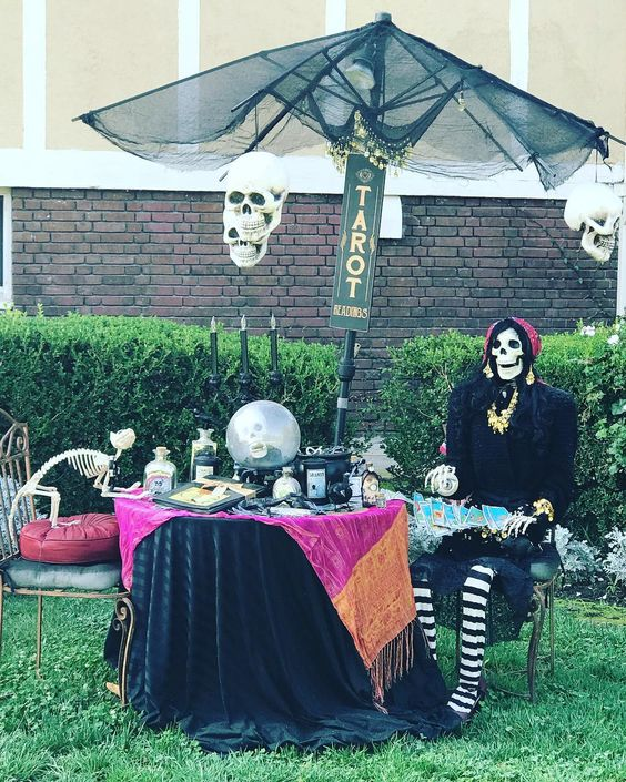 Stunning Skeleton Tarot Card Reader Set Up for Backyard Decoration.