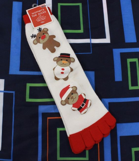 Stunning reindeer, Santa ,Rudolph white and red Christmas toesocks