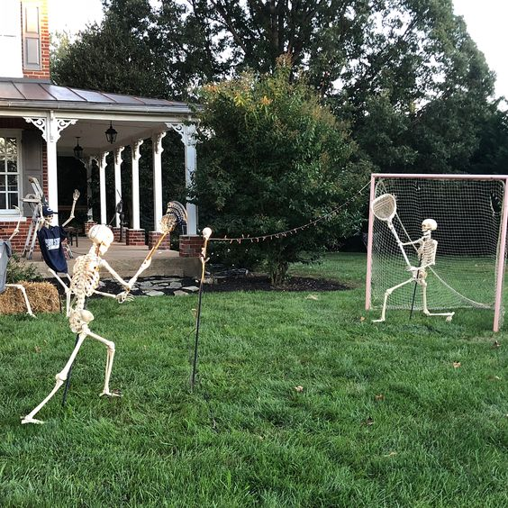 Tennis Playing Skeleton Decor For Backyard.