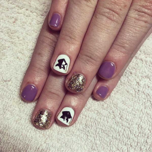 Violet and black gel nails with graduation cap. Pic by polished_by_jenna