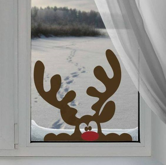 6 chic reindeer sticker for christmas window decoration pic by diy ideas fun source - Diy Christmas Window Decorations